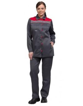 Костюм женский летний ТИМБЕР серый/красный (куртка+брюки)