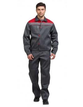 Костюм мужской летний ТИМБЕР серый/красный (куртка, брюки)